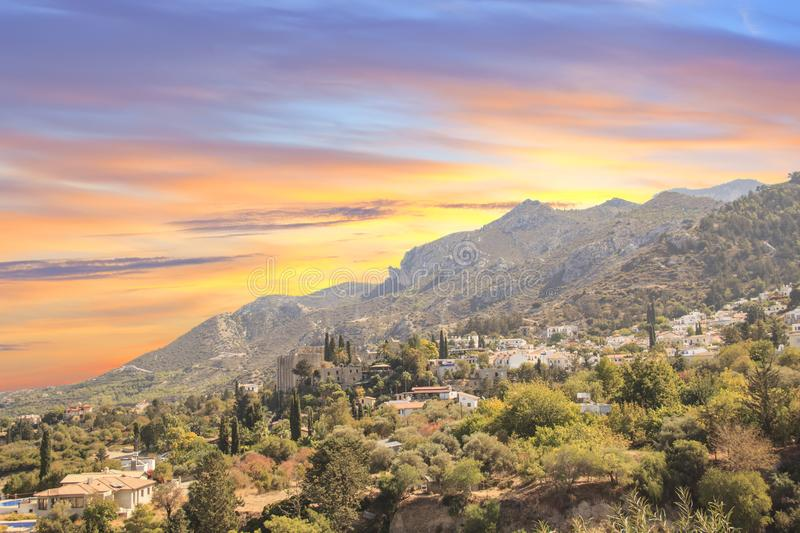 Beautiful view of the construction of the Bellapais Abbey in Kyrenia Girne, Republic of Northern Cyprus. On a sunny day stock image