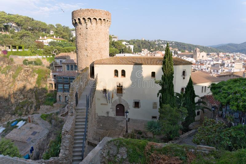 Tossa de Mar, Catalonia, Spain, August 2018. View of the fortress and the historical museum on the coast. royalty free stock image