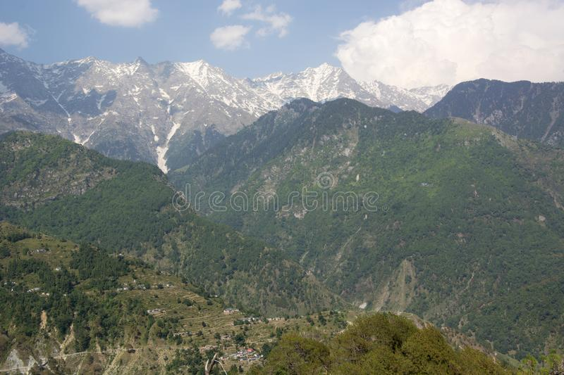 A beautiful view of the Dhauladhar Mountain Range stock photography