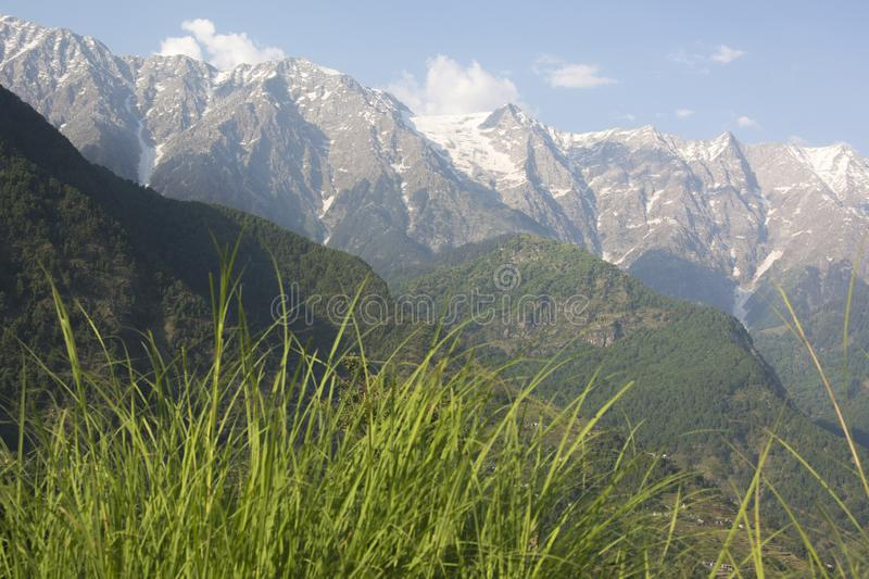 A beautiful view of the Dhauladhar Mountain Range royalty free stock photo