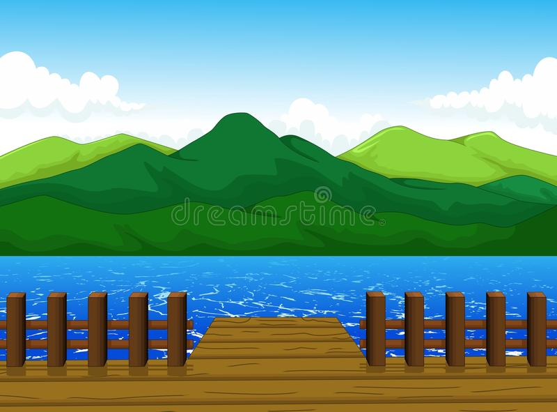 Beautiful view of dock cartoon with mountain landscape background. Illustration of beautiful view of dock cartoon with mountain landscape background royalty free illustration