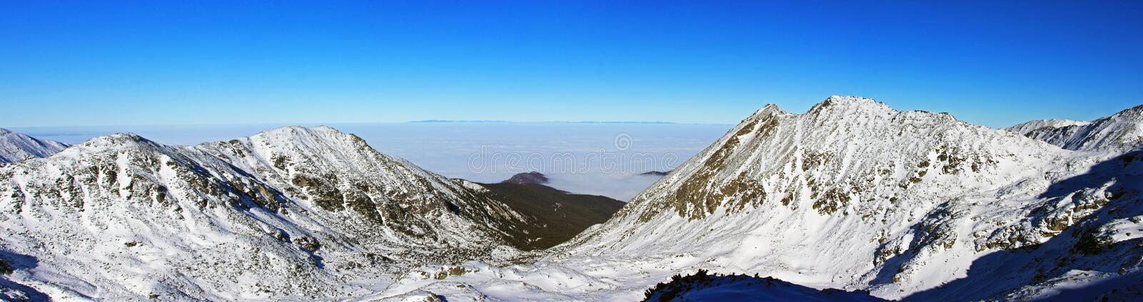 Beautiful view down the valley from the Bucura peak, in Retezat mountains royalty free stock photo