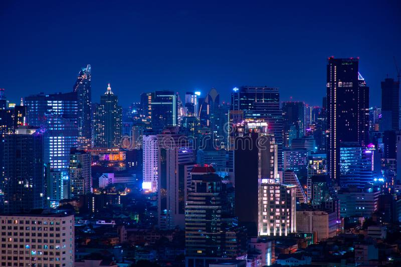 Beautiful view downtown of Bangkok cityscape skyscraper. At night stock photos