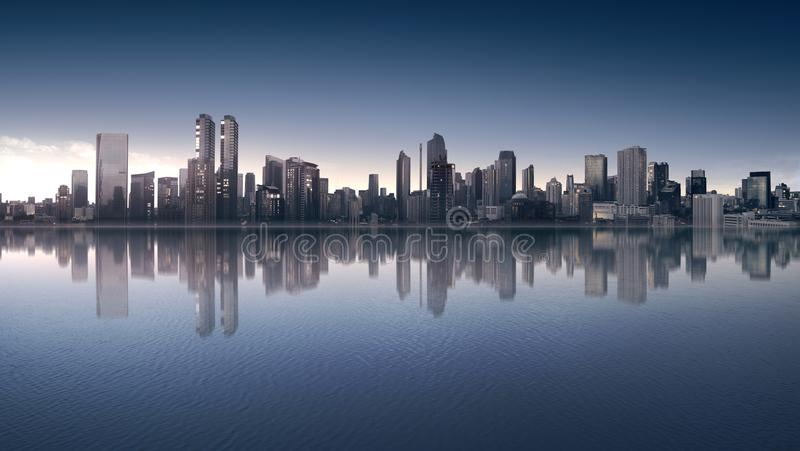 Beautiful view of downtown with modern architecture stock photo