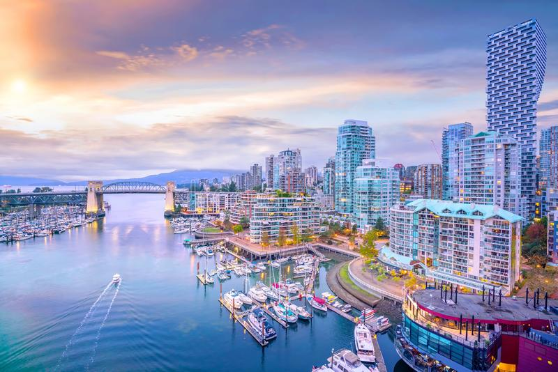 Beautiful view of downtown Vancouver skyline, British Columbia, Canada. At sunset royalty free stock photography