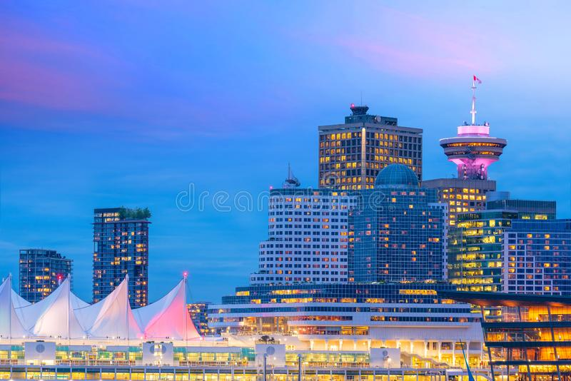 Beautiful view of downtown Vancouver skyline, British Columbia, Canada. At sunset stock photo