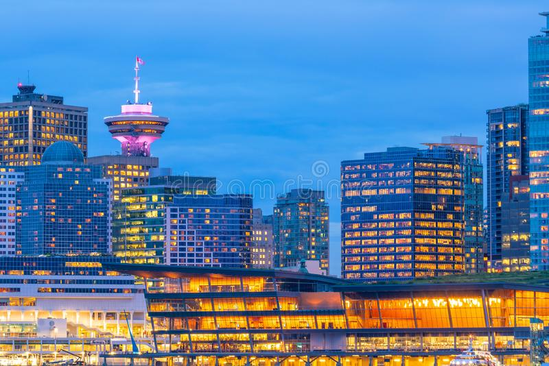 Beautiful view of downtown Vancouver skyline, British Columbia, Canada. At sunset stock images