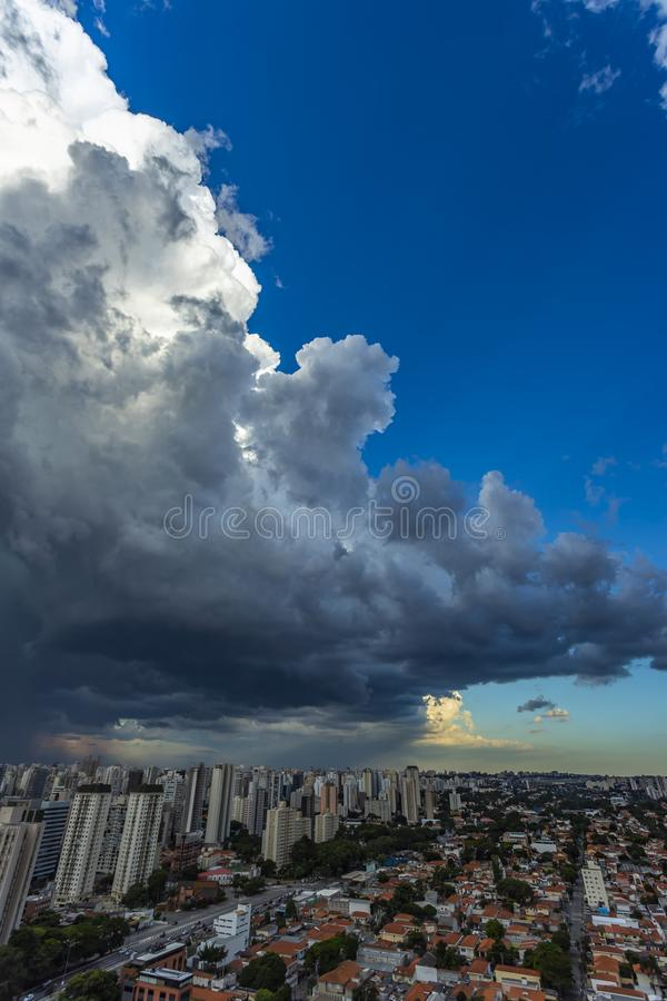 Beautiful view of dramatic dark stormy sky. The rain is coming soon. Pattern of the clouds over city. Very heavy rain sky in Sao Paulo city, Brazil South stock images