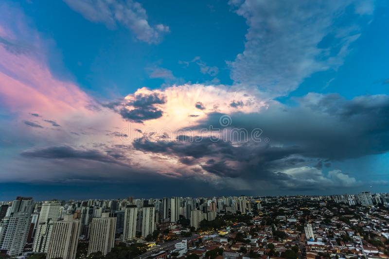 Beautiful view of dramatic dark stormy sky. The rain is coming soon. Pattern of the clouds over city. Very heavy rain sky in Sao Paulo city, Brazil South stock photos