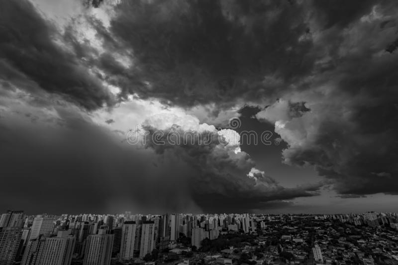 Beautiful view of dramatic dark stormy sky. The rain is coming soon. Pattern of the clouds over city. Very heavy rain sky in Sao Paulo city, Brazil South stock image