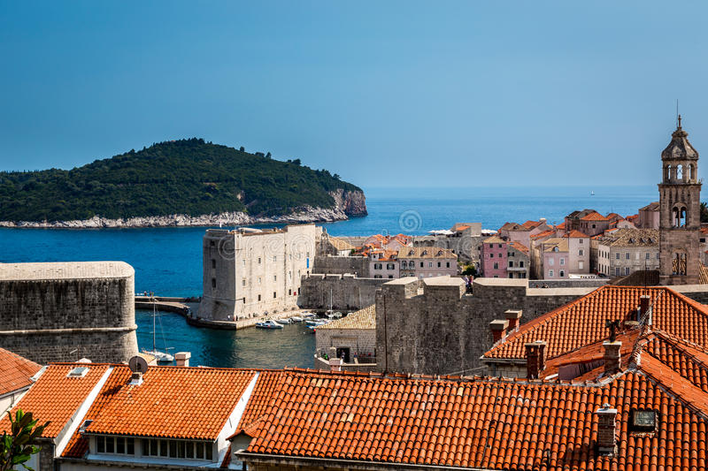 Beautiful view of Dubrovnik Croatia with the Old Town and water stock image