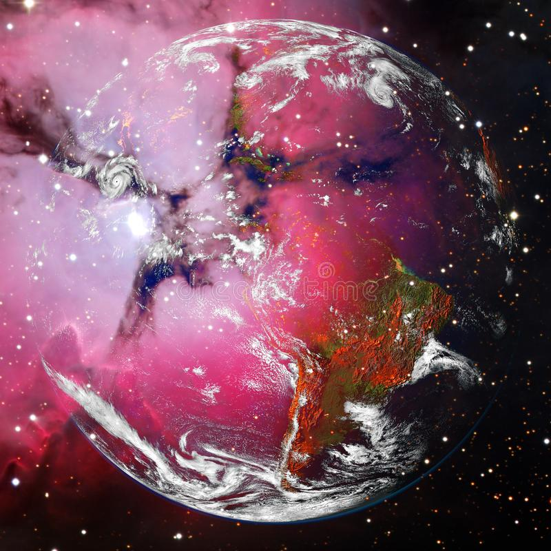 Beautiful view of earth from space. Elements of this image furnished by NASA.  stock image