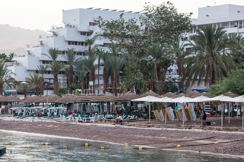 Beautiful view of the Eilat. EILAT, ISRAEL - CIRCA MAY 2018: Beautiful view of the Eilat in Israel circa May 2018 in Eilat royalty free stock photos