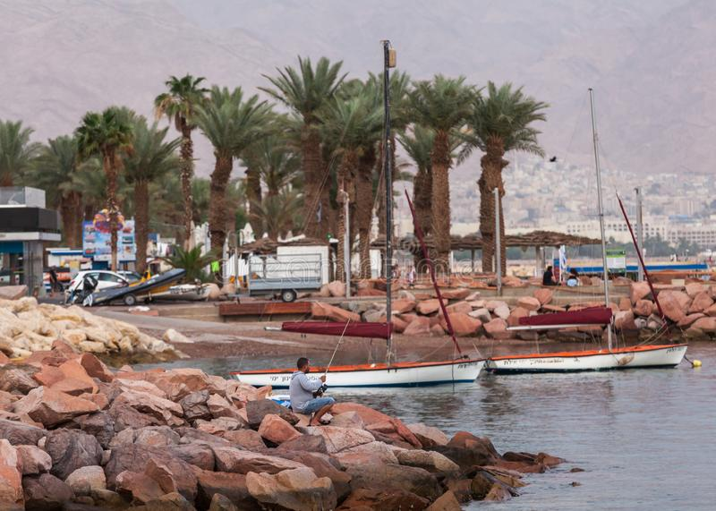 Beautiful view of the Eilat. EILAT, ISRAEL - CIRCA MAY 2018: Beautiful view of the Eilat in Israel circa May 2018 in Eilat stock photo