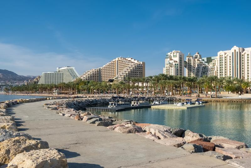 Beautiful view of Eilat, Israel. Beautiful view of Eilat - famous resort city on the red sea in Israel stock image