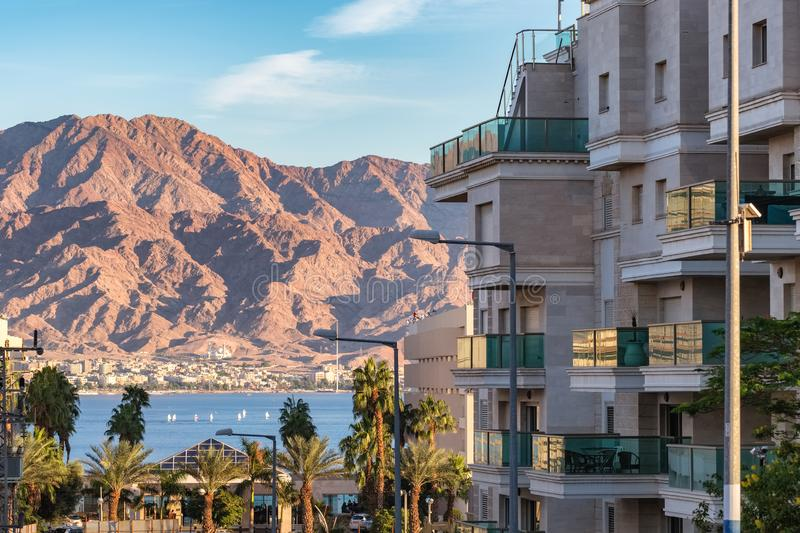 Beautiful view of Eilat, Israel. Beautiful view of Eilat - famous resort city on the red sea in Israel. Real estate modern houses royalty free stock photography