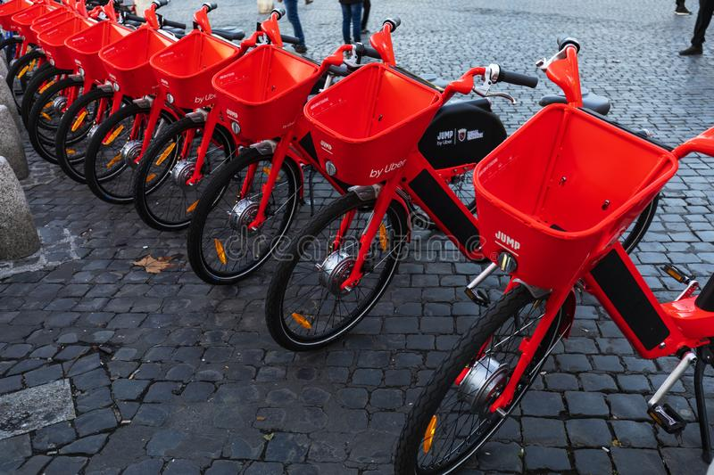 Beautiful view of Electric rent bicycle in Piazza del Popolo Rome Italy. November 11,2019 Piazza del poplo Rome Italy.Beautiful view of Electric rent bicycle in royalty free stock image