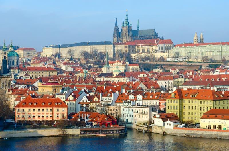 Beautiful view of embankment of Vltava River, Kampa Island, historic district Mala Strana, Prague Castle, Prague royalty free stock photography