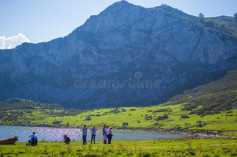 Beautiful view of Ercina Lake in Covadonga Lakes, Asturias, Spain. Green grassland with people enjoying and mountains at the. Background royalty free stock image