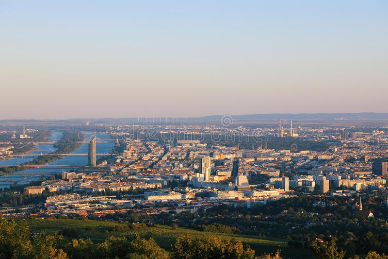 Beautiful view of the evening skyline of Vienna and Danube River with green trees of Doebling district, Austria. Travel royalty free stock photos