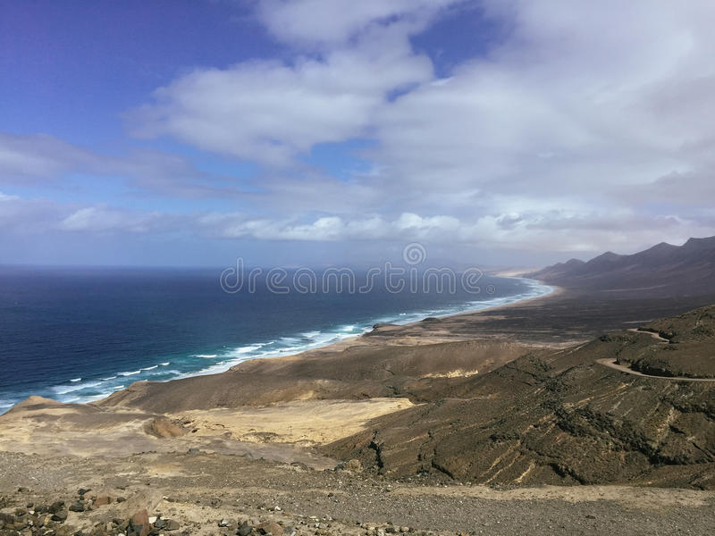 Beautiful view on the famous beach Cofete on the Canary island Fuerteventura, Spain royalty free stock photos