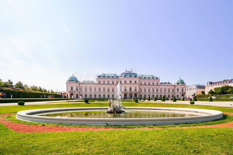 Upper Belvedere Palace with the pond is one of the most beautiful baroque palaces in Europe, Vienna, Austria. popular touristic. Beautiful view of famous Schloss royalty free stock photo