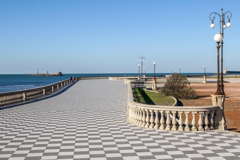 Beautiful view of the famous Terrazza Mascagni on the seafront of Livorno, Tuscany, Italy. Europe royalty free stock photography