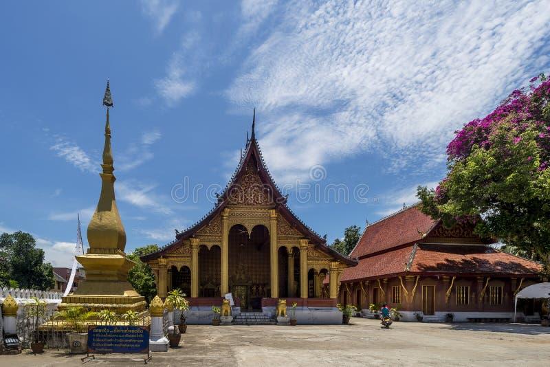 Beautiful view of the famous Wat Sensoukharam temple in Luang Prabang, Laos stock images