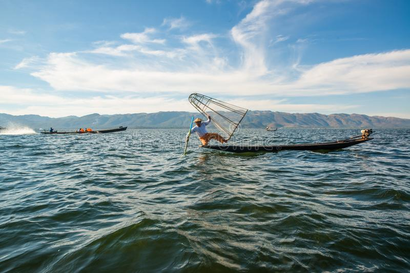A view of a fisherman in Inle Lake, Myanmar. stock image