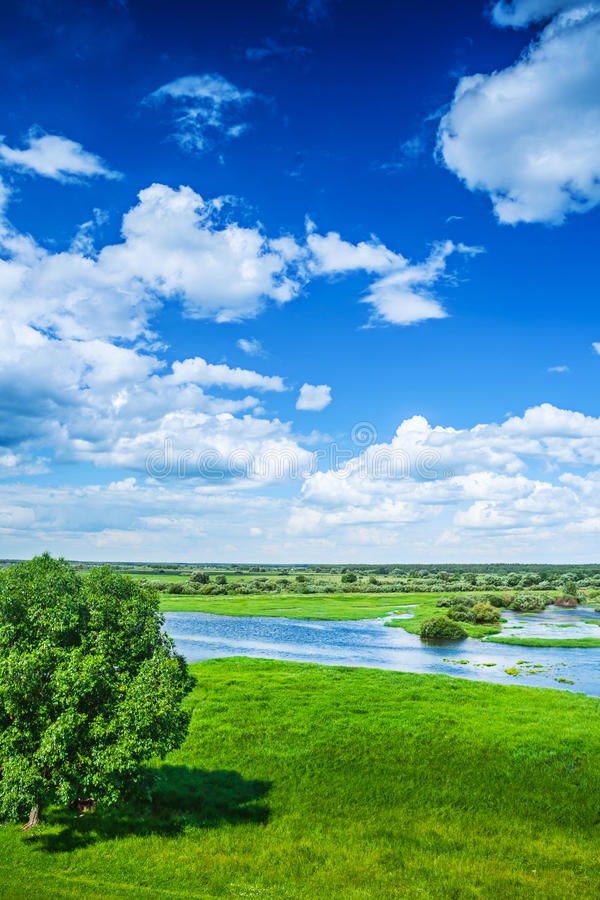 Beautiful view on flood field with blue cloudy sky in spring ins stock photography