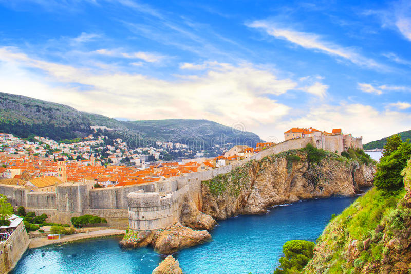Beautiful view of the fortress wall and the gulf of the historic city of Dubrovnik, Croatia stock images