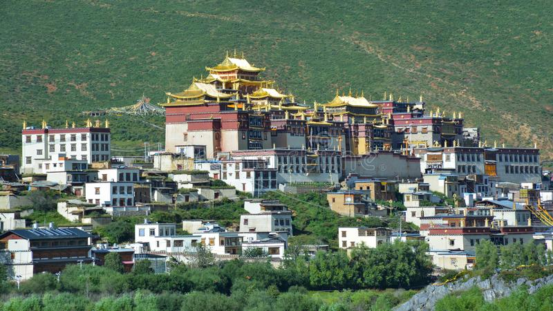 Beautiful view of the Ganden Sumtseling Buddhist Temple. Shangri-La, China. Beautiful view of the Ganden Sumtseling Buddhist Temple. Shangri-La, Tibet, China stock images