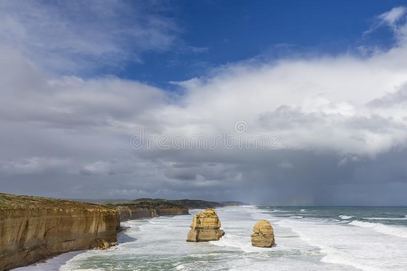 Beautiful view of the Gibson Steps against a dramatic sky in the area of the Twelve Apostles, Great Ocean Road, Australia. Oceania stock image
