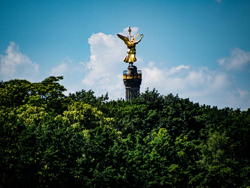 Beautiful view of the golden angel of the Berlin Victory Column royalty free stock photos