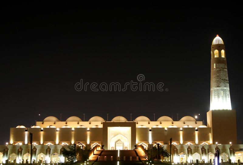 Beautiful view of grand Mosque of Doha at night stock image
