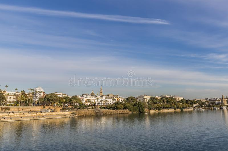 Beautiful view of the Guadalquivir river and a part of the city of Seville Spain royalty free stock image