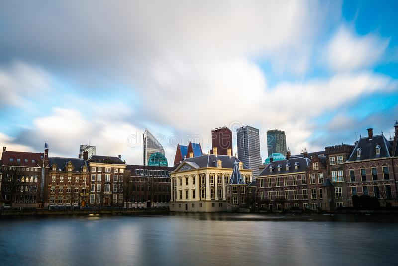 Beautiful view of The Hague at sunset, Netherlands, Europe royalty free stock photography