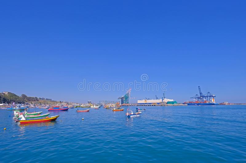 Beautiful view of the harbor port of San Antonio and the City, Valparaiso, Chile. South America stock images