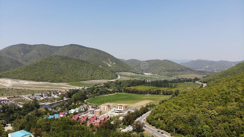 Aerial view of the mountains in the village Betta in the Krasnodar region. royalty free stock photos