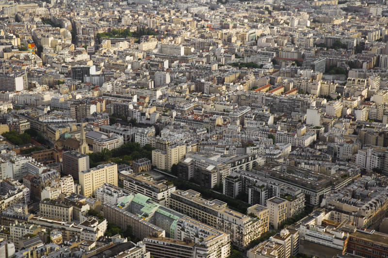 Beautiful view from the heights on the Parisian residential neighborhoods. Beautiful view of Paris from the heights on the residential neighborhoods in the royalty free stock photos