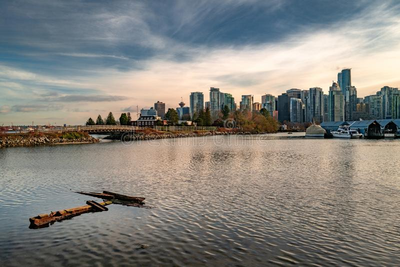 Beautiful view of high-rise buildings near the Coal Harbour in Vancouver. A beautiful view of high-rise buildings near the Coal Harbour in Vancouver stock photography