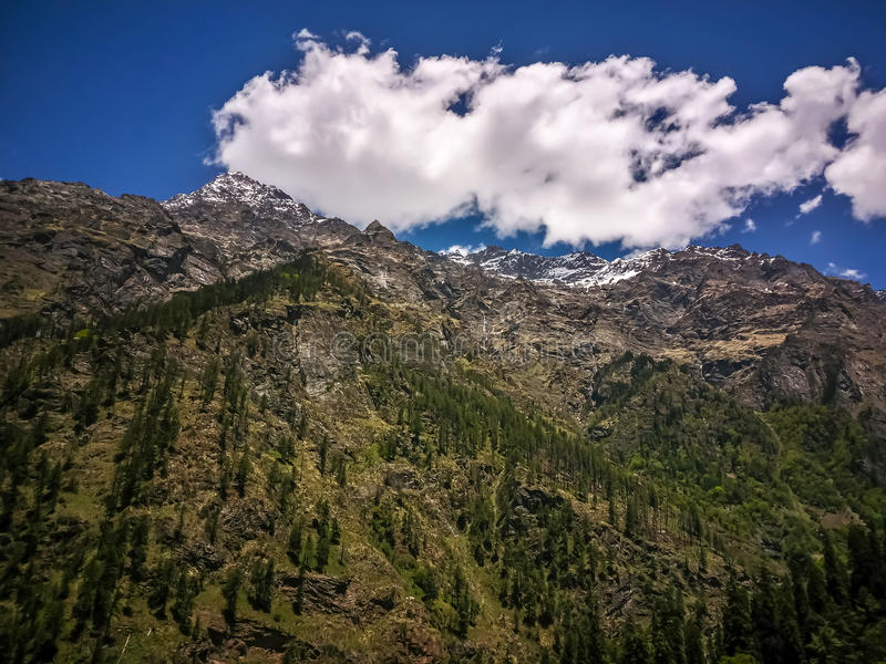 Beautiful view of Himalayan mountains, Kasol, Parvati valley, Himachal Pradesh, India. Beautiful view of Himalayan mountains, Kasol, Parvati valley, Himachal stock image