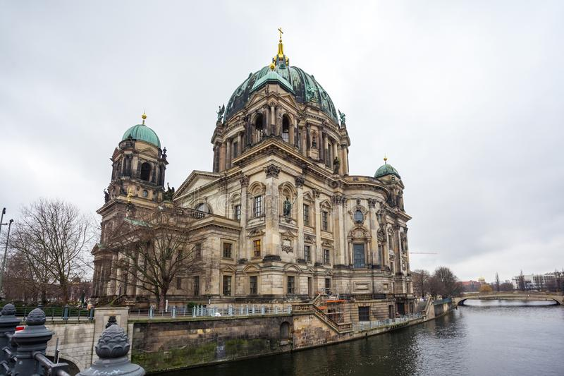 Beautiful view of historic Berlin Cathedral Berliner Dom at fa. Mous Museumsinsel Museum Island stock photography
