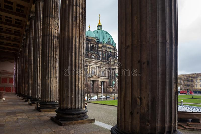 Beautiful view of historic Berlin Cathedral Berliner Dom at fa. Mous Museumsinsel Museum Island stock images