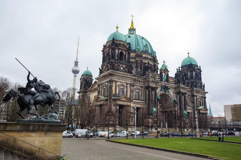 Beautiful view of historic Berlin Cathedral Berliner Dom at fa. Mous Museumsinsel Museum Island stock photos