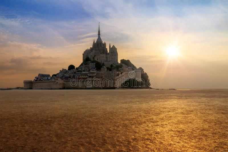 Low tide Le Mont Saint-Michel royalty free stock image