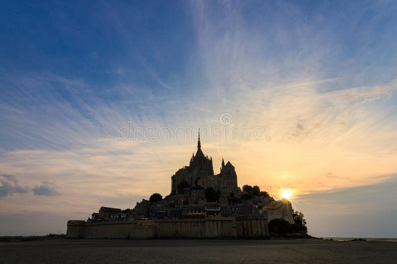 Le Mont Saint-Michel silhouette sunset royalty free stock photo