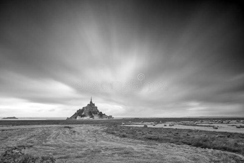 Le Mont Saint-Michel black and white stock image