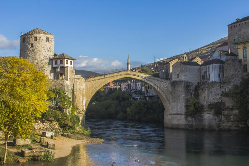 Beautiful view of the historic `Old Bridge` in Mostar. Bosnia and Herzegovina royalty free stock photography