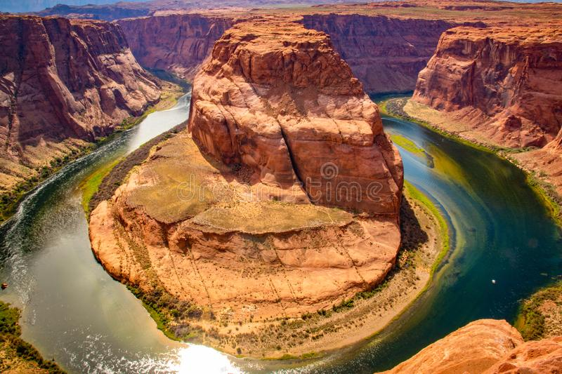 Beautiful view at Horseshoe bend on sunny day royalty free stock image